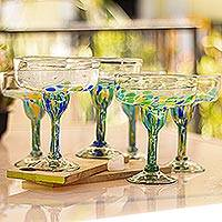 Recycled glass margarita glasses, 'Tropical Confetti' (set of 6) - Colorful Recycled Glass Margarita Glasses (Set of 6)