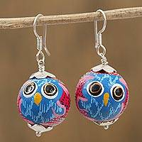 Wood dangle earrings, 'Painted Owl in Pink' - Painted Pinewood Owl Dangle Earrings in Pink from Mexico