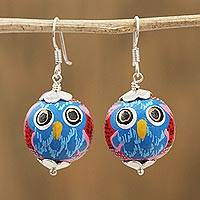 Wood dangle earrings, 'Painted Owl in Red' - Painted Pinewood Lizard Dangle Earrings in Red from Mexico