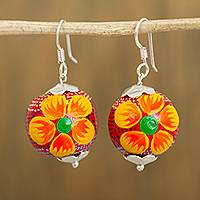 Wood dangle earrings, 'Round Floral in Red' - Floral Wood Dangle Earrings in Red from Mexico