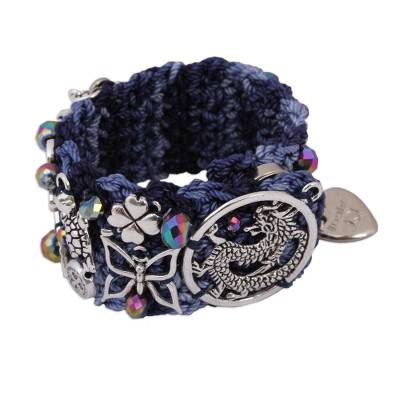 Glass Beaded Charm Bracelet in Blue from Mexico