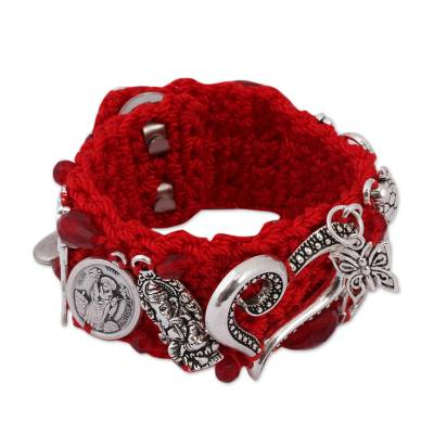 Glass Beaded Charm Bracelet in Crimson from Mexico