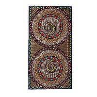 Amate paper wall art, 'Spiral Colors' - Colorful Spiral Motif Amate Paper Wall Art from Mexico