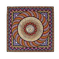 Amate paper wall art, 'Conch Color' - Spiral Motif Amate Paper Wall Art from Mexico