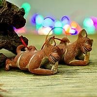 Ceramic ornaments, 'Hungry Dogs' (pair)