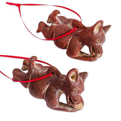 Ceramic ornaments, 'Hungry Dogs' (pair) - Pre-Hispanic Ceramic Dog Ornaments from Mexico (Pair)