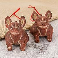 Ceramic ornaments, 'Smiling Dogs' (pair)