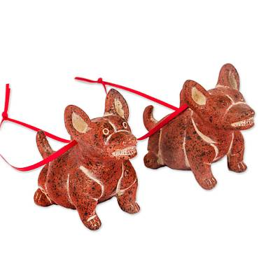 Ceramic ornaments, 'Smiling Dogs' (pair) - Rustic Ceramic Dog Ornaments from Mexico (Pair)