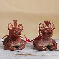 Ceramic ornaments, 'Pre-Hispanic Dog Vessels' (pair) - Ceramic Pre-Hispanic Dog Vessel Ornaments from Mexico (Pair)