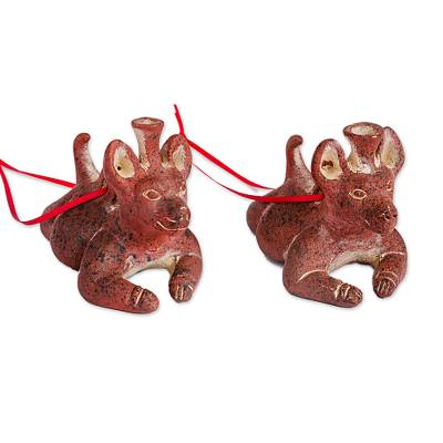 Ceramic ornaments, 'Pre-Hispanic Dog Vessels' (pair) - Ceramic Pre-Hispanic Dog Vessel Ornaments from Mexico (Pair)