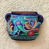 Ceramic wall planter, 'Desires of the Garden' - Hand-Painted Floral Ceramic Wall Planter from Mexico