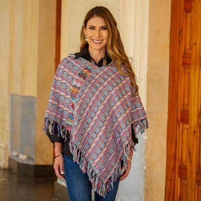 Cotton poncho, 'Color of the Morning' - Multicolored Striped Cotton Poncho from Mexico