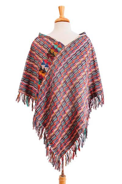Multicolored Striped Cotton Poncho from Mexico
