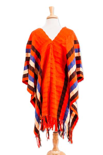 Striped Cotton Poncho in Vermilion from Mexico