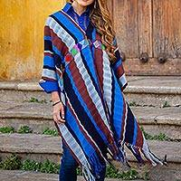 Cotton poncho, 'Stripes and Geometry' - Striped Cotton Poncho Woven on a Backstrap Loom from Mexico