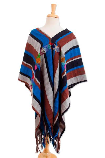 Striped Cotton Poncho Woven on a Backstrap Loom from Mexico