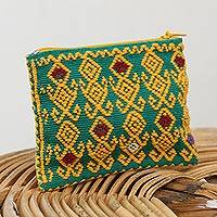 Cotton coin purse, 'Beauty of the Season' - Geometric Cotton Coin Purse in Saffron and Emerald