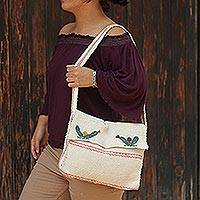 Wool shoulder bag, 'Cacti' - Handwoven Ecru Wool Embroidered Cactus Motif Shoulder Bag