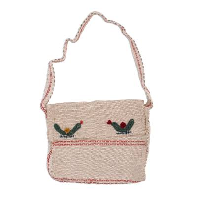 Handwoven Ecru Wool Embroidered Cactus Motif Shoulder Bag