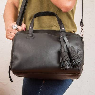 Leather travel bag, Tasseled Traveler in Black