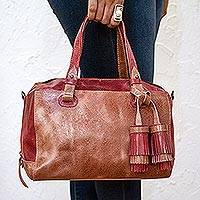 Leather travel bag, 'Tasseled Traveler in Claret' - Handmade Leather Travel Bag in Claret from Mexico