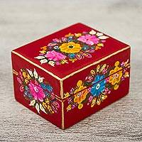 Wood decorative box, 'Crimson Garden' - Floral Wood Decorative Box in Crimson from Mexico
