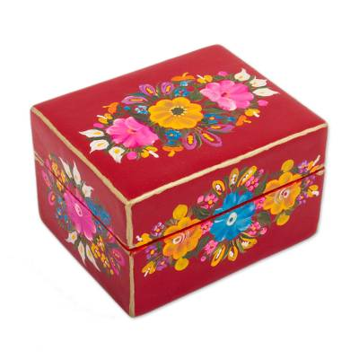 Floral Wood Decorative Box in Crimson from Mexico