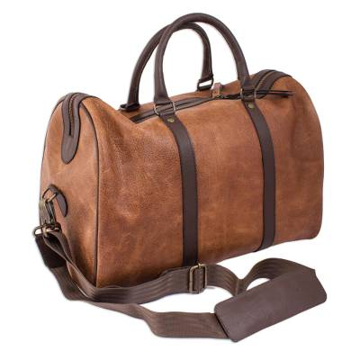 Burnt Sienna and Espresso Leather Travel Bag from Mexico