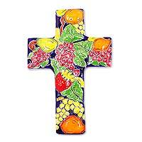 Ceramic wall cross, 'Fruited Cross' - Fruit-Themed Talavera-Style Ceramic Wall Cross from Mexico