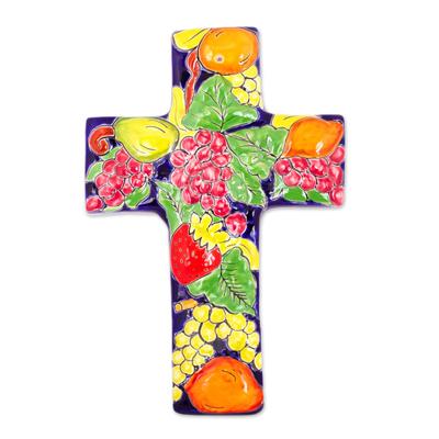 Fruit-Themed Talavera-Style Ceramic Wall Cross from Mexico