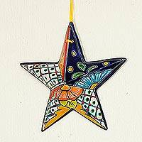 Ceramic wall sculpture, 'Talavera Star' - Hand-Painted Talavera-Style Ceramic Star Wall Sculpture