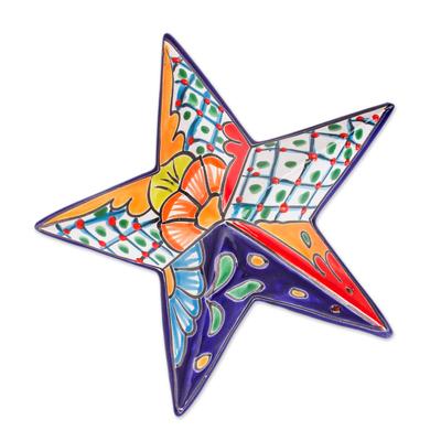 Ceramic wall sculpture, 'Talavera Star' - Hand-Painted Talavera-Style Ceramic Star Wall Sculpture