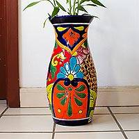 Ceramic vase, 'Colorful Curves' - Curvy Talavera-Style Ceramic Vase Crafted in Mexico