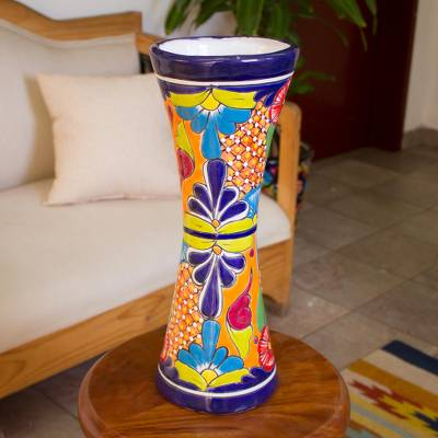 Ceramic vase, 'Talavera Hourglass' - Hourglass-Shaped Talavera-Style Ceramic Vase from Mexico