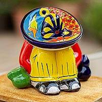 Ceramic figurine, 'Sombrero Slumber' - Talavera-Style Ceramic Figurine Crafted in Mexico