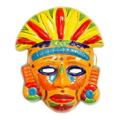 Talavera-Style Ceramic Aztec Mask Crafted in Mexico