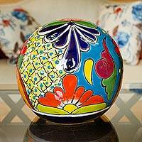 Ceramic decorative accent, 'Talavera Orb' - Talavera-Style Ceramic Decorative Accent from Mexico