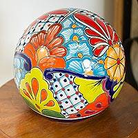 Ceramic decorative accent, 'Summer Designs' - Floral Talavera-Style Ceramic Decorative Accent from Mexico