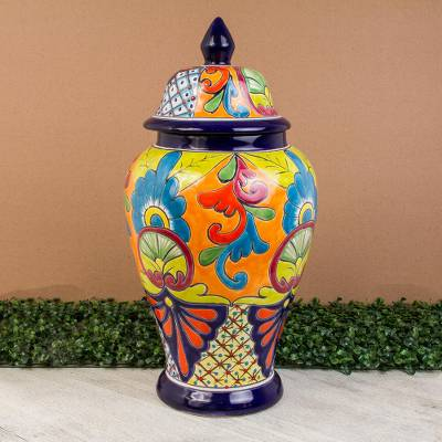 Ceramic urn, 'Mediterranean Beauty' - Hand-Painted Talavera-Style Ceramic Urn from Mexico