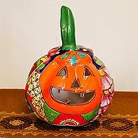 Ceramic candle holder, 'Floral Jack-O-Lantern'
