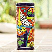 Ceramic vase, 'Cylindrical Talavera' - Cylindrical Talavera-Style Ceramic Vase from Mexico