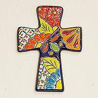 Ceramic wall cross, 'Spanish Faith' - Talavera-Style Ceramic Wall Cross from Mexico