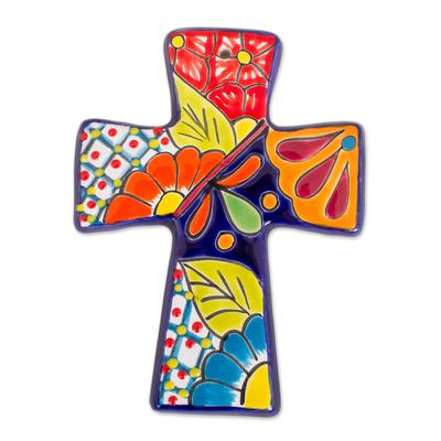 Talavera-Style Ceramic Wall Cross from Mexico