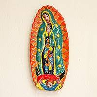 Ceramic wall sculpture, 'Talavera Guadalupe in Orange' - Talavera-Style Ceramic Wall Sculpture of the Virgin Mary