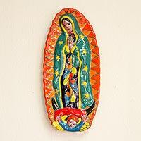 Ceramic wall sculpture, 'Talavera Guadalupe in Orange'