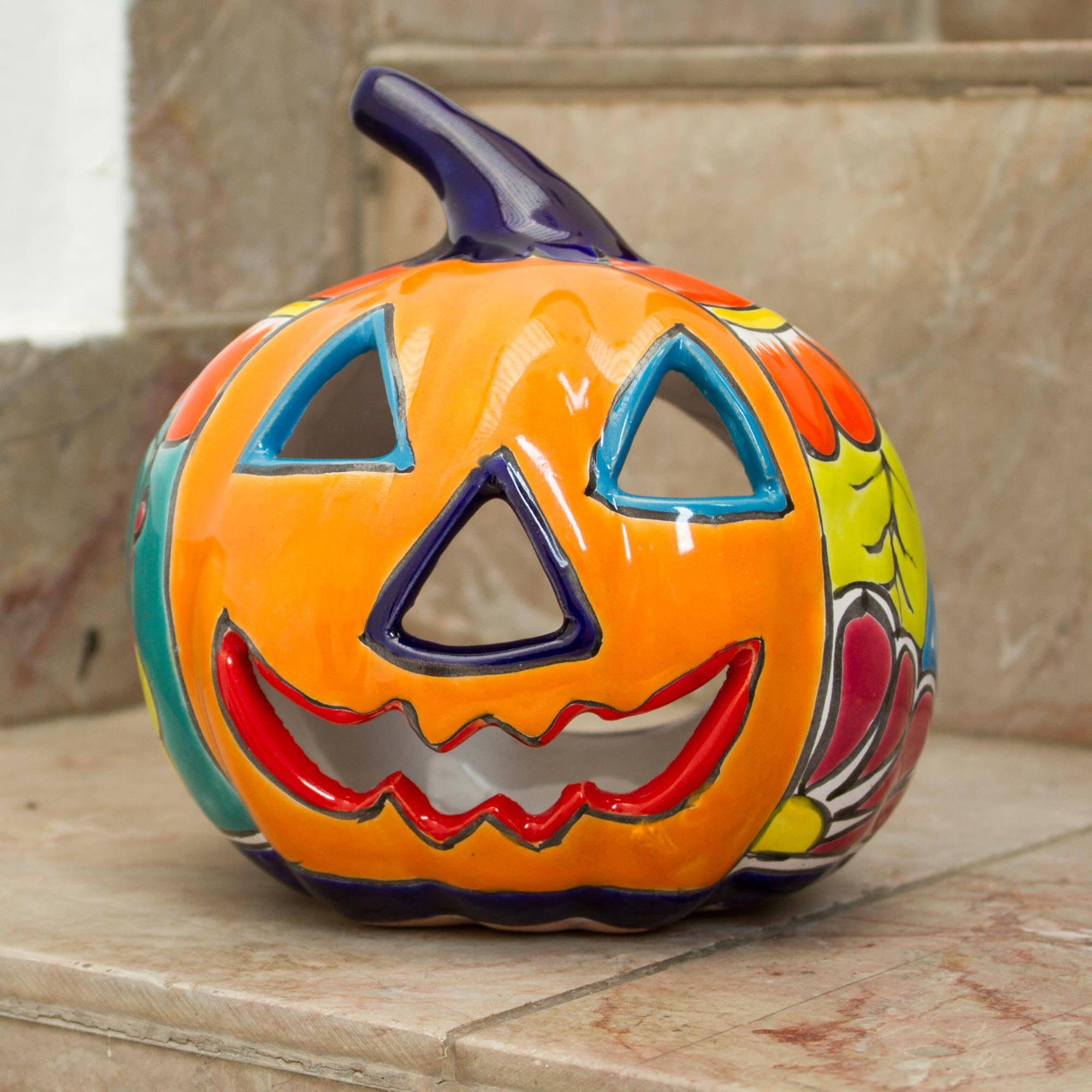 Ceramic Jack O Lantern Candle Holder From Mexico Floral Halloween Novica