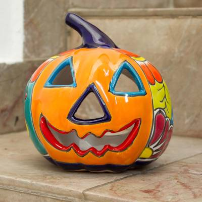 Ceramic candle holder, 'Floral Halloween' - Ceramic Jack-O-Lantern Candle Holder from Mexico