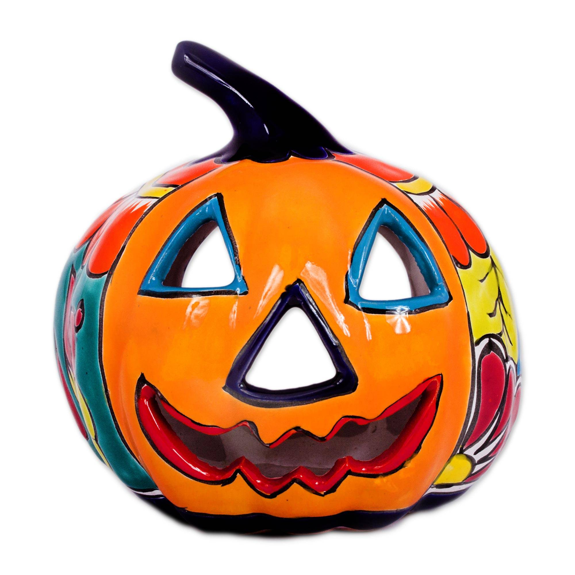 Unicef Market Ceramic Jack O Lantern Candle Holder From Mexico Floral Halloween