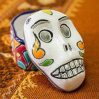 Ceramic decorative box, 'Calavera Keeper' - Skull-Shaped Talavera-Style Ceramic Decorative Box