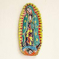 Ceramic wall sculpture, 'Talavera Guadalupe in Green' - Mother Mary Talavera-Style Ceramic Wall Sculpture